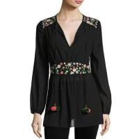 Tory BurchLong-Sleeve Tie-Neck Floral Appliqué Tunic