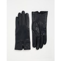 TotesLeather Glove With Quilted Cuff Detail - Navy
