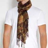 TrendhimBruin met Geel Geruite Sjaal