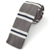 TrendhimGrå & Blå Stickad Slips