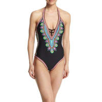 Trina TurkDashiki V-Neck Printed One-Piece Swimsuit