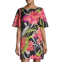 Trina TurkFloral Jacquard Half-Sleeve Shift Dress