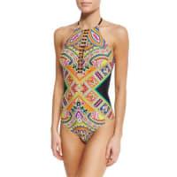 Trina TurkPaisley High-Neck One-Piece Swimsuit