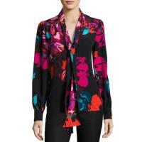 Trina TurkTrue Floral Silk Chiffon Tie-Neck Top, Black