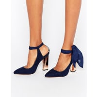 True DecadenceAnkle Tie Detailed Heeled Shoes - Navy microfibre