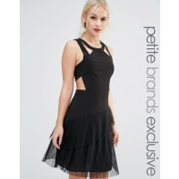 True DecadenceStrappy Ruffle Hem Skater Dress - Black