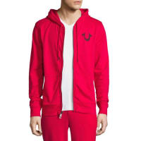 True ReligionFront-Zip Horseshoe Hoodie, Red