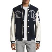 True ReligionMoleskin & Leather Collegiate Varsity Jacket, Light Beige