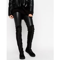 TruffleFlat Over Knee Lace Up Boot - Black