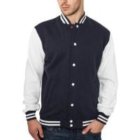 Urban ClassicsBekleidung 2 Tone College Sweatjacket, Felpa Uomo, Multicolore (Navy/White), X-Large (Taglia Produttore: X-Large)