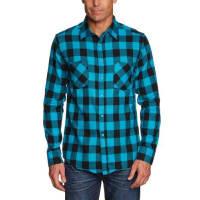 Urban ClassicsChecked Flanell Shirt - Camisa, color negro/turquesa