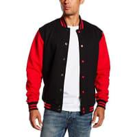 Urban Classics2-tone College Sweatjacket, Felpa Uomo, Multicolore (Blk/Red), XXX-Large (Taglia Produttore: XXX-Large)