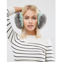 Urban CodeFaux Fur Earmuffs - Grey/mint