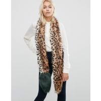 Urban CodeFaux Fur Leopard Skinny Scarf With Contrast Tail - Leopard/ green