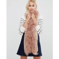 Urban CodeFaux Fur Mix Skinny Scarf - Blush