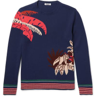 ValentinoBanana Leaf Intarsia Cashmere Sweater - Navy