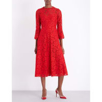SelfridgesVALENTINO Bell-sleeve floral-lace midi dress, Womens, Size: 8, Red