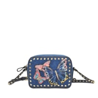 ValentinoButterflies Denim Rokstud Camera Bag