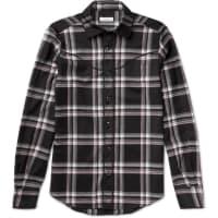 ValentinoSlim-fit Checked Wool-flannel Western Shirt - Black