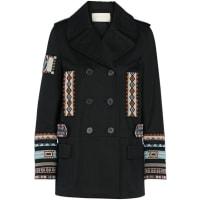 ValentinoDouble-breasted Bead-embellished Cotton-twill Jacket - Black