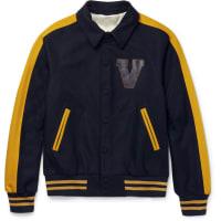ValentinoLeather-appliquéd Felted Wool-blend Varsity Jacket - Navy