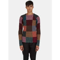 ValentinoPatchwork Knit Crew Neck Sweater