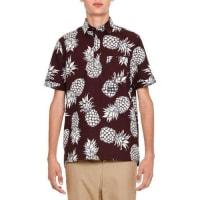 ValentinoPineapple-Print Short-Sleeve Popover Shirt, Burgundy