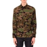 ValentinoCamo-Print Long-Sleeve Military Shirt, Green Multi