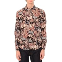 ValentinoCamu Butterfly Long-Sleeve Sport Shirt, Navy/Pink Multi