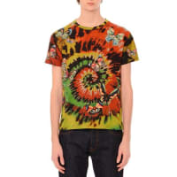 ValentinoTie-Dye Short-Sleeve T-Shirt with Embroidered Butterflies, Multi