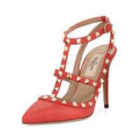 ValentinoRockstud Leather Caged Pump, Coral