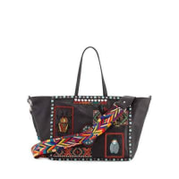 ValentinoRockstud Rolling Medium Beaded-Patch Tote Bag, Black/Multi