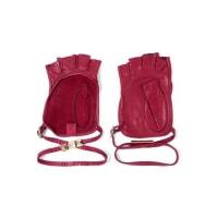 ValentinoStudded Leather Fingerless Gloves - Burgundy
