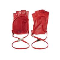 ValentinoStudded Leather Fingerless Gloves - Red