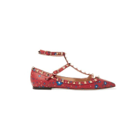 ValentinoThe Rockstud Printed Leather Point-toe Flats - Red