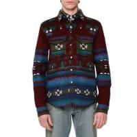 ValentinoTribal-Print Woven Shirt Jacket, Wine