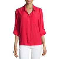 Velvet HeartElisa Button-Up Blouse, Red Lacquer