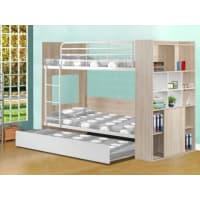 Venta-Unica.comCama litera MARCUS con cama nido - Baldas integradas - Blanco