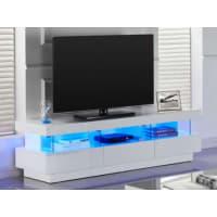 Venta-Unica.comMueble TV FABIO - MDF lacado blanco - LEDS - 3 cajones & 3 huecos