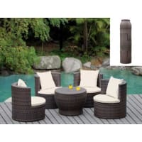 Venta-Unica.comConjunto de jardín SAO PAULO - Resina trenzada wengué: mesa y 4 sillones