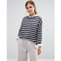 Vero ModaAltha - Langärmeliger, kastenförmiger Pullover mit Streifen - Marineblau