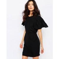 Vero ModaGreek Stitch Dress with Frill Sleeve - Black