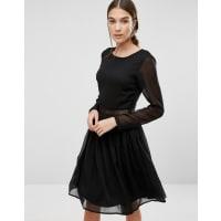 Vero ModaMarissa Long Sleeve Dress with Lace Insert - Black