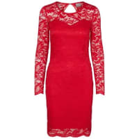 Vero ModaSpitzen-Kleid mit langen Ärmeln rot