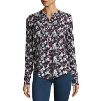 Veronica BeardGoldie Floral Silk Tuxedo Blouse, Black/Navy/Red/White