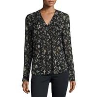 Veronica BeardVintage Bloom Silk Blouse, Black/Multicolor
