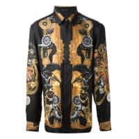 Versace100% Silk Black Printed Mens Shirt