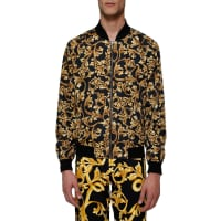 VersaceAll over printed nylon bomber, size 46, Multicolor