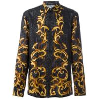 Versacebaroque print shirt, Mens, Size: 41, Black, Silk