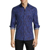 Versace CollectionBaroque Paisley Stretch-Cotton Sport Shirt, Blue/Brown